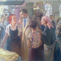 Nadezhda Kornienko - Maxim Gorky at the Tryokhgornaya Manufactory, 1956
