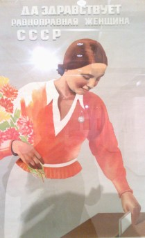 The title says: Long live the Soviet Woman with equal rights!