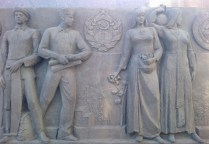 Peoples of the USSR: two Belarusian men and two Azerbaijani women