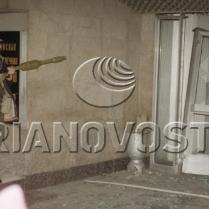 A man with a grenade-gun near the Ostankino TV Centre entrance. October 3, 1993. © Igor Mikhalev, Ria Novosti, 1993.