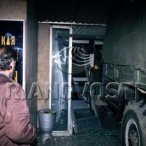 The storming of the Ostankino TV Centre. Truck rams the building's entrance. October 3, 1993. © Igor Mikhalev, Ria Novosti, 1993.