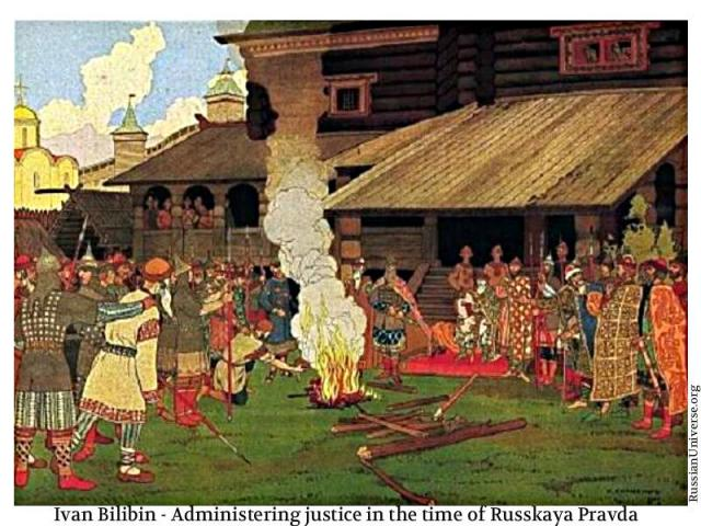 Ivan Bilibin Administering justice in the time of Russkaya Pravda