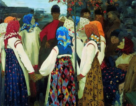 Andrei Ryabushkin - Khorovod (aka A Young Man Breaking into the Girls' Dance, and the Old Women are in Panic), 1902.