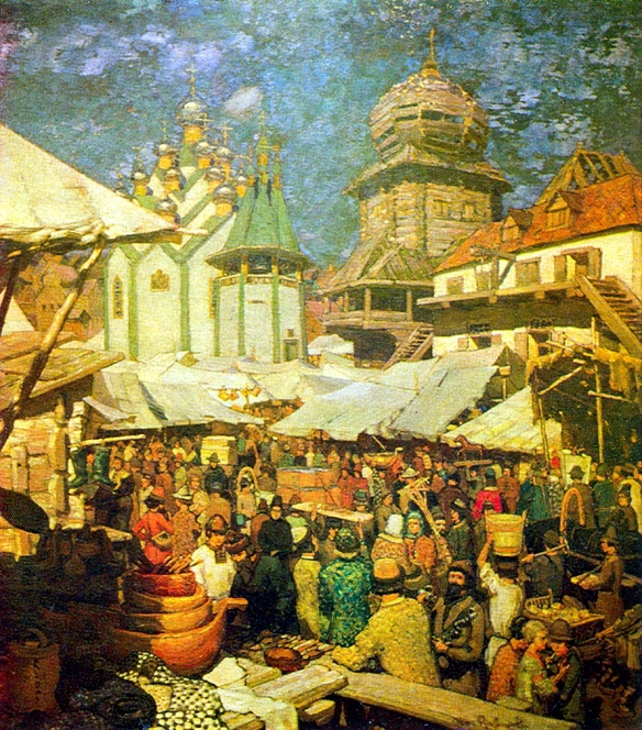 Apollinary Vasnetsov - [Russian] Bazaar. 17th century. (1903).