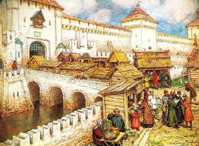 Apollinary Vasnetsov - Book Shops on the Spassky Bridge in the 17th century. (1916).