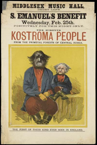 The Hirsute Kostroma People from the Primeval Forests of Central Russia (Advertisement for Fedor Jeftichew's sideshow), 1874