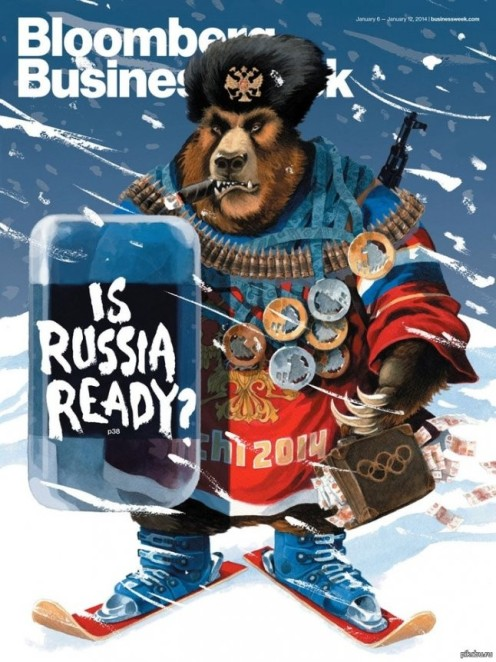 Bloomberg Business Week caricature depicting Russia as an agressive bear