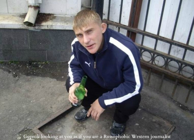 Gopnik looking at you as if you are a Russophobic Western journalist