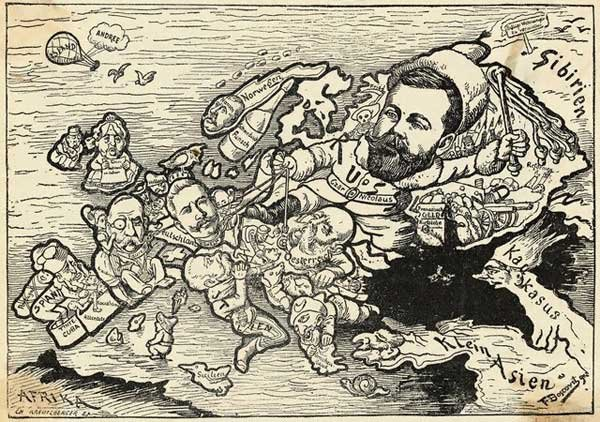 Old German map caricature depicting Russian tsar Nicholas II as Mangiafuoco