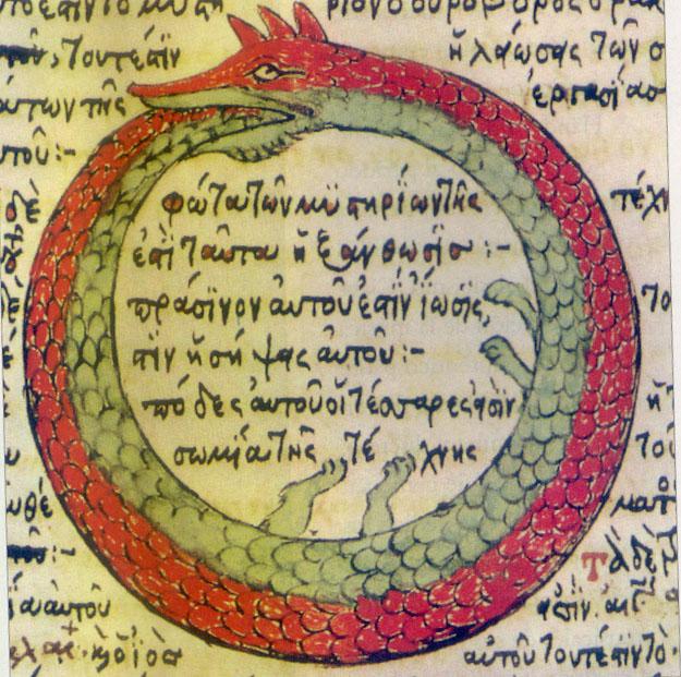 Ouroboros by Theodoros Pelecanos, in the alchemical Byzantine Greek alchemical manuscript Synosius (1478)