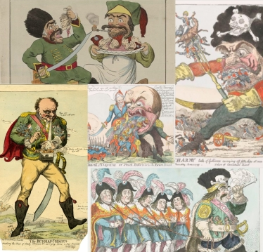 Caricatures depicting Russian Generalissimo Alexander Suvorov as cannibal