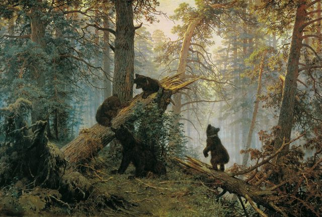 Ivan Shishkin, Konstantin Savitsky - Morning in a Pine Forest, 1889