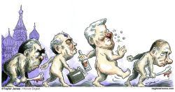 The Russian Evolution Caricature Leonid Brezhnev, Mikhail Gorbachev, Boris Yeltsin, Vladimir Putin