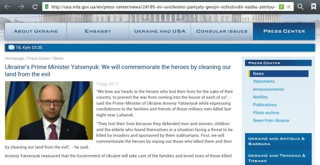 Yatsenyuk calling people of Eastern Ukraine subhumans