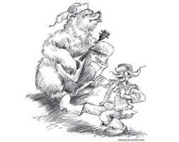 Klyukvification caricature Russian bear in ushanka with balalaika and muzhik