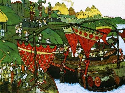 Nicholas Roerich - Slavs on the Dnieper, 1905.