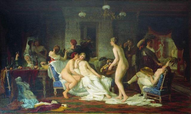 Firs Zhuravlev - Bachelorette Party in the Banya, 1885.