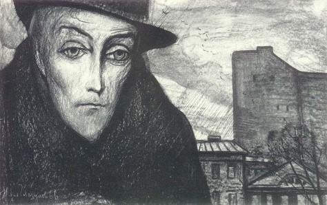 Ilya Glazunov - Prince Myshkin after the death of Nastasya Filippovna (book illustration), 1966.