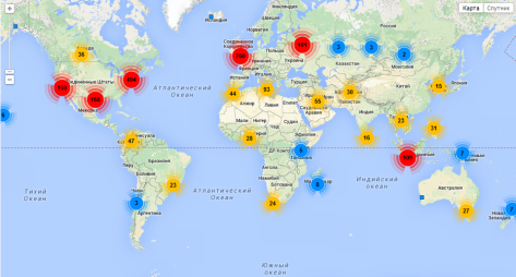 Mapped locations of Russian Universe's followers via Followerwonk