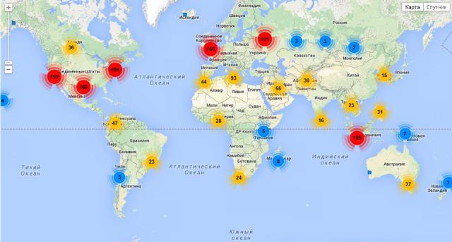 Mapped locations of Russian Universe's followers via Followerwonk