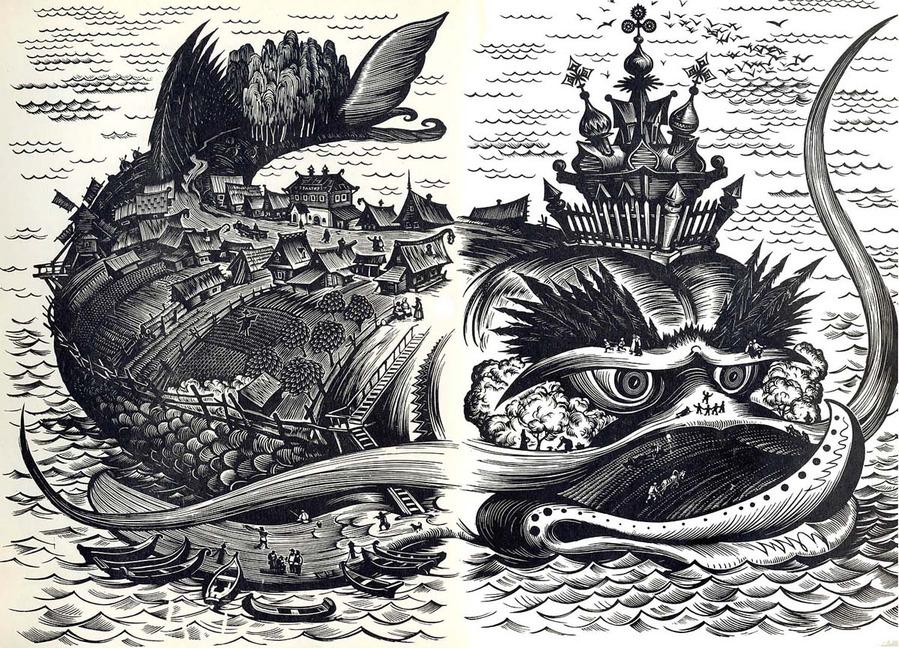 Dmitry Dmitriev - Illustration to Konyok-Gorbunok (The Humpbacked Horse), 1976.