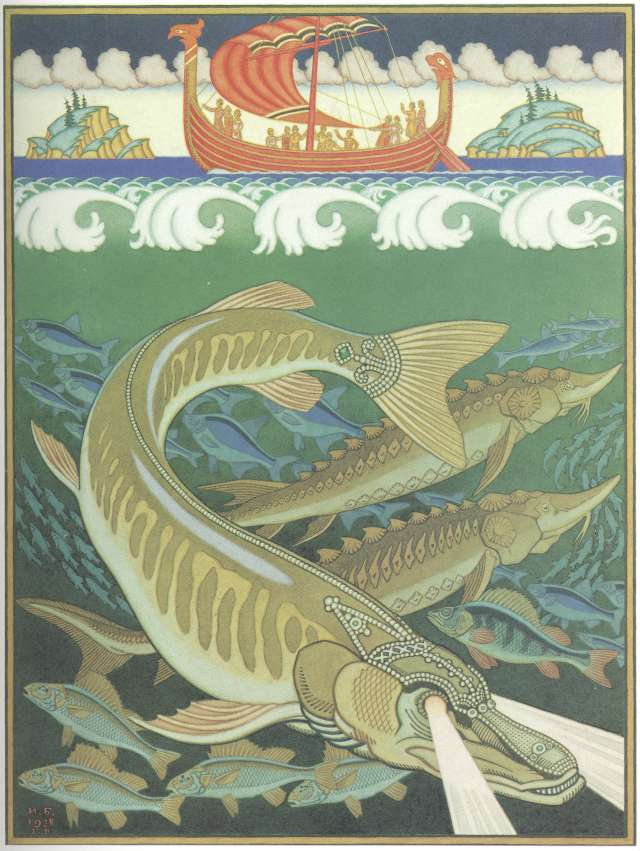 "Ivan Bilibin - Illustration to the epic ""Volga"", 1928."