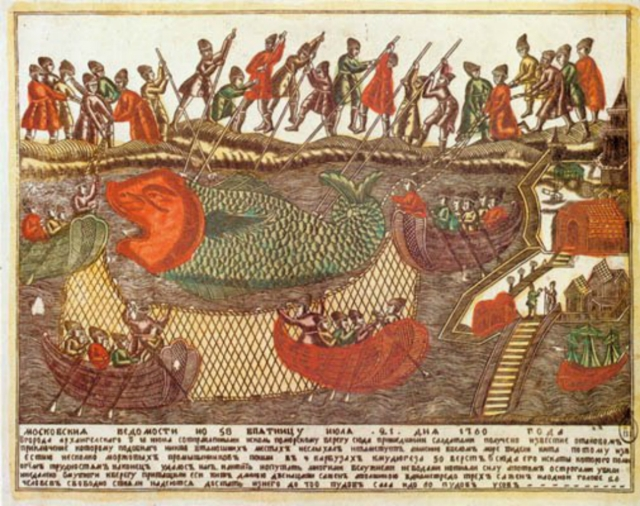 Whaling in the White Sea (lubok), 1750s.