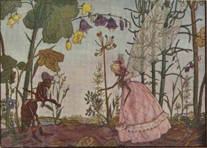 """Georgiy Narbut - Illustration to Ivan Krylov's fable """"The Ant & the Dragonfly"""" (1912)."""