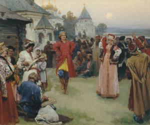 Klavdy Lebedev - Dancing, 1900.