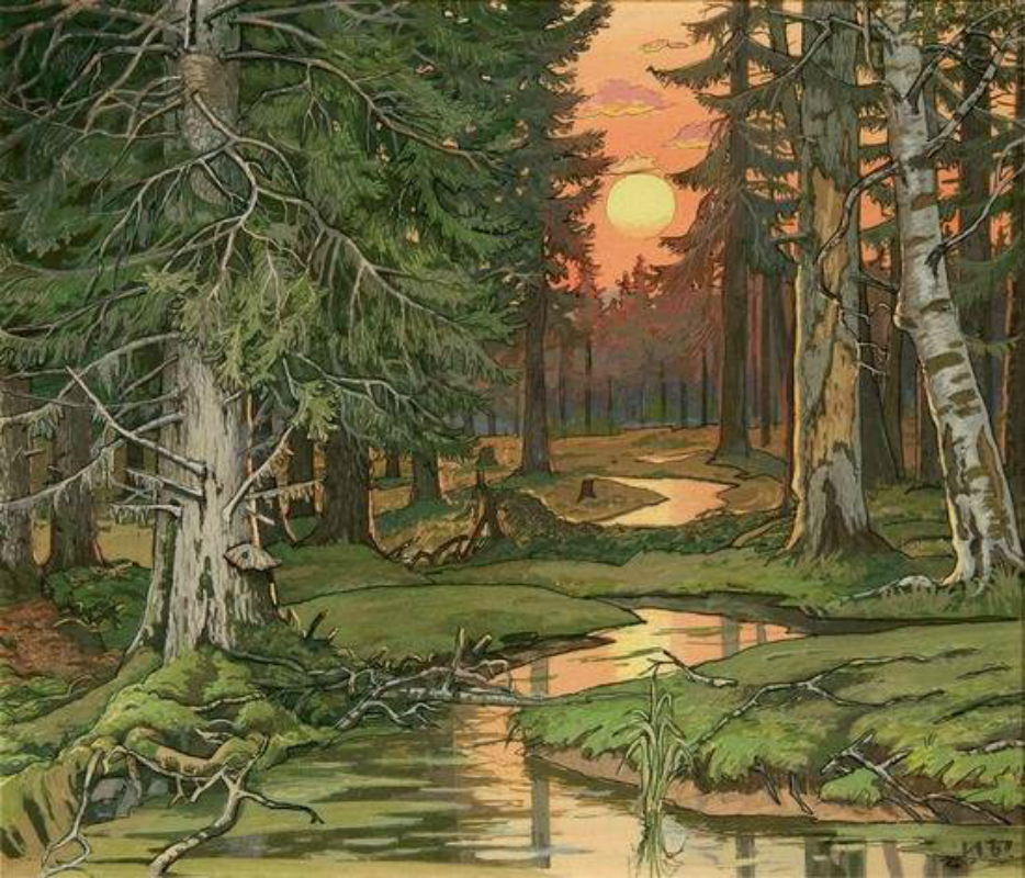 Ivan Bilibin – Fairy Forest at Sunset, 1906.