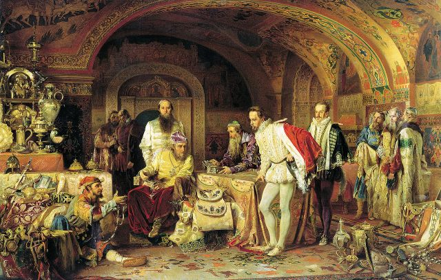 Alexander Litovchenko - Ivan the Terrible Showing His Treasures to [the English ambassador] Jerome Horsey, 1875.