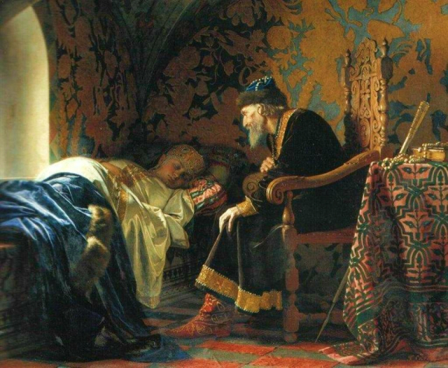 Grigory Sedov - Ivan the Terrible admiring Vasilisa Melentieva (1875).