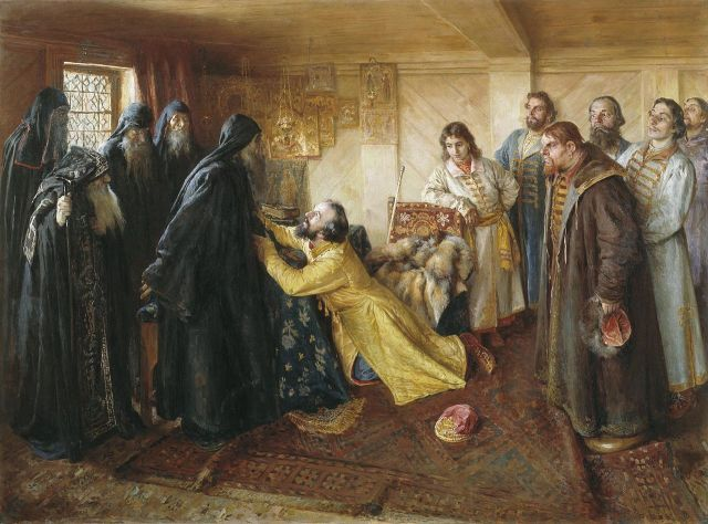 Klavdy Lebedev Tsar Ivan the Terrible asks hiegumen Kornily to admit him into monks, 1898.