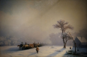 Ivan Aivazovsky - Winter Caravan on the Road (1857). Oil on canvas.