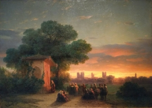 Ivan Aivazovsky - Crimean View at Sunset (1862). Oil on canvas.