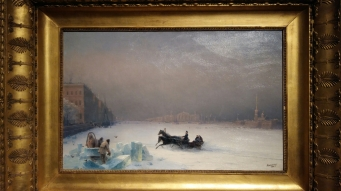 Ivan Aivazovsky - Emperor Alexander II on a Ride on the Frozen Neva River (1890). Oil on canvas.