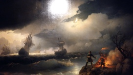 Ivan Aivazovsky - Peter the Great at Krasnaya Gorka, Lighting a Signal Fire on the Shore for His Sinking Ships (1846). Oil on canvas.