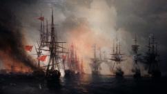 Ivan Aivazovsky - The Battle of Sinop (1853). Oil on canvas.