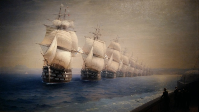 Ivan Aivazovsky - Manoeuvres of the Black Sea Fleet in 1849 (1886). Oil on canvas.