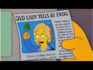 Old lady yells at frog.