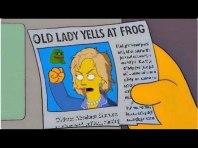 Old lady yells at frog.