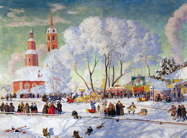 Boris Kustodiev - Maslenitsa. Oil on canvas, 1920.