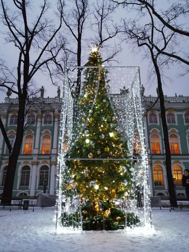 Christmas tree near the Hermitage Museum in St Petersburg